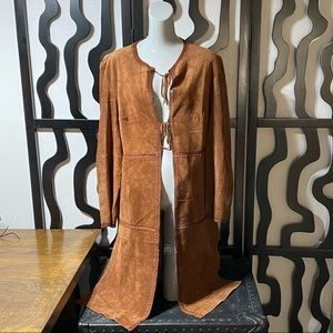 Olsen Europe Boutique Long Leather Duster Coat
